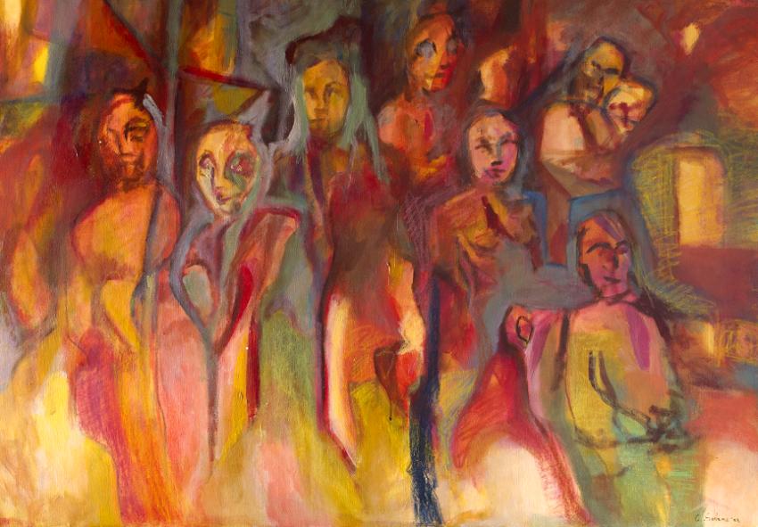 Cristina Sodano - in Viaggio (2008) - tecnica mista su tela 70x100cm