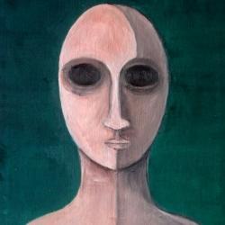 Cristina Sodano (2017) - Protoumano 2 - olio su tela 30x30cm