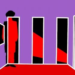 Giacomo Badini - Le tre porte (serie Trinidriadi) - acrilico su tela 100x150 (2009)