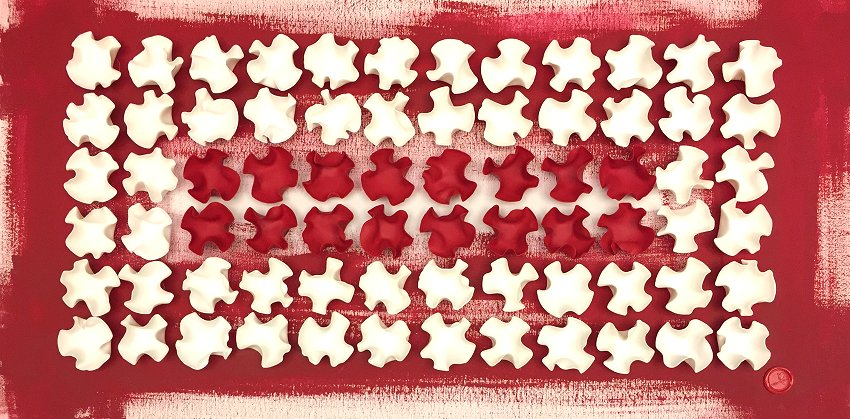 Roberta Bissoli (2017) - Integration Red&White - Polimaterico su Tela 50x100cm