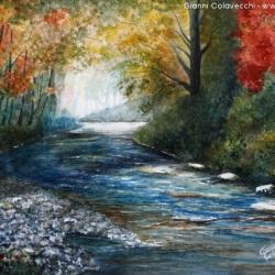 Gianni Colavecchi - 2014 - Tecnica Mista su Carta - il fiume tra la nauta d'autunno