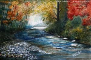 Gianni Colavecchi 2014 - acrilico e acquerello su carta - il fiume nella natura d'autunno
